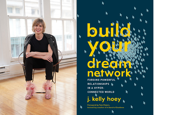 Event poster 'build your dream network' with Speaker Kelly Hoye sitting on a chair