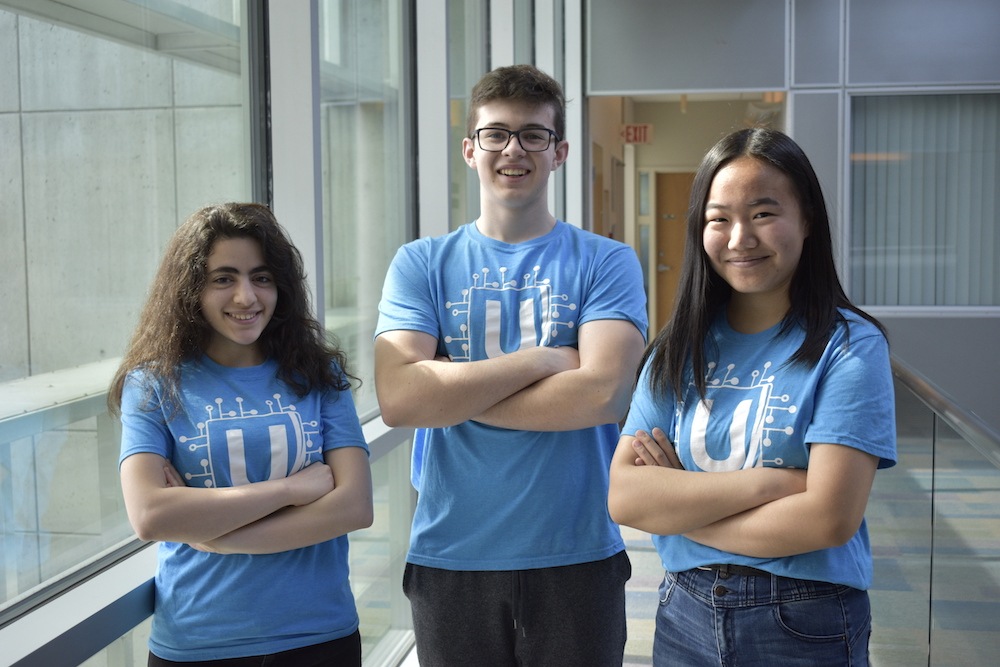 Three UVic students from HighTechU standing