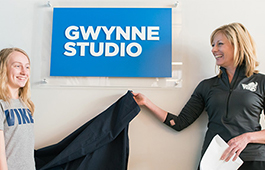 Linnea opening the studio