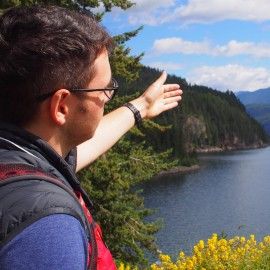 Nathan admires the beautiful scenery in Kaslo